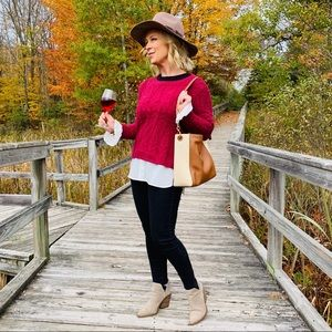 Cranberry Sweater with Ruffle Sleeves